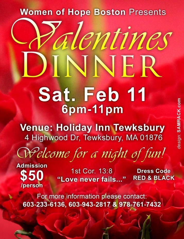 Women Of Hope Boston Presents An Night Of Fun Valentines Dinner