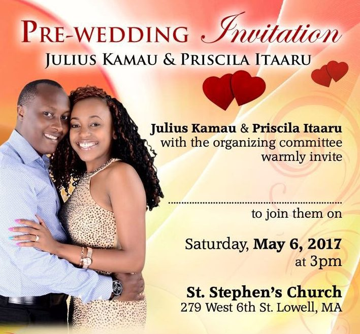 Pre Wedding Party Invitation Julius Kamau Priscilla