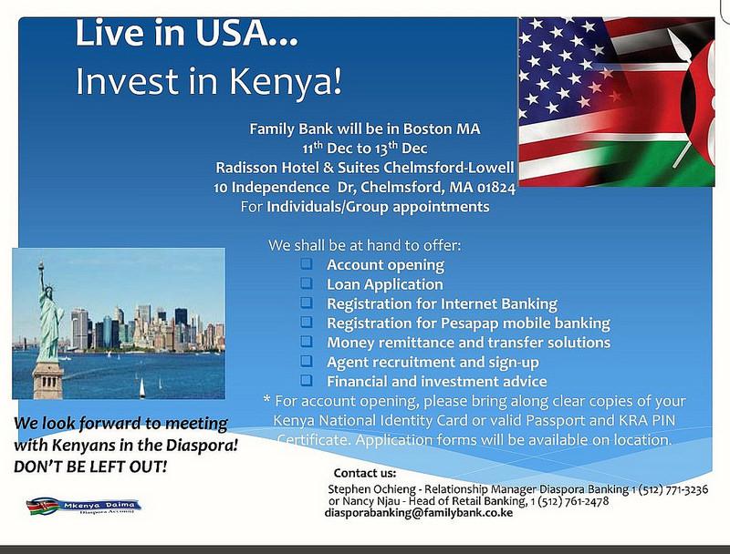 Family Bank will be in Boston MA 11th Dec to 13th Dec