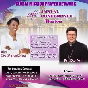 GLOBAL MISSION PRAYER NETWORK 12TH ANNUAL CONFERENCE BOSTON FRI AUGUST  9TH TO SUN AUG 11TH 2019