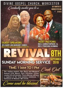 Divine Gospel Church Worcester Revival Sunday Morning Sept 8 2019 with Rev Barry & Margaret Samuel from UK