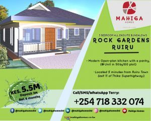 Mahiga Homes : 3 Bedroom 5.5M  All Enuite Bungalows ROCK GARDENS RUIRU,KENYA