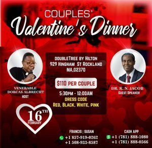 Couples Valentines Dinner: DoubleTree By Hilton 929 Hingham St Rockland,MA  with Dr K N Jacob February 16th 2020 All are Invited!