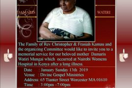 Celebration of Life/Memorial service planned Sun Jan 13th 2019 @ 3PM for the late Damaris Watiri Mungai