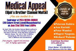Medical Appeal: Elijah's Brother Samuel Maitai Fundraiser June 22nd 2019 @5PM at PCEA NEEMA Church,Lowell MA