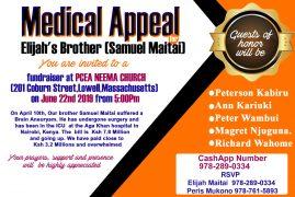 Medical Appeal: Elijah's Brother Samuel Maitai Fundraiser June 22nd 2019 @5PM at PCEA NEEMA Church,Lowell MA