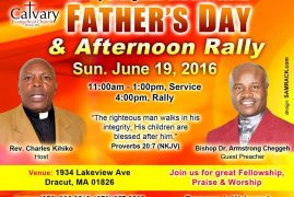 Father's Day & Afternoon Rally @ Calvary Evangelical Church Sunday June 19,2016 @11Am Dracut,Massachusetts