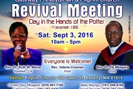 """Gateway Presbyterian & Pilgrim Church: """"Revival Meeting"""" Clay in the Hands of the Potter Sat.Sept 3,2016@10Am"""