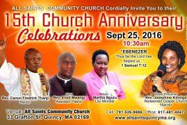 Invitation 15th Church Anniversary Celebrations Sept 25th 2016 10:30Am @All Saints Community Church,Quincy MA