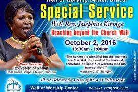 """""""Reaching Beyond the Church Wall""""with Rev Josephine Kitonga @ Well of Worship Center,Dracut,Massachusetts"""