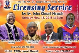 PCEA IMANI Church Invite you to a Licensing Service for Ev. John Kimani Nyagah Sunday Nov. 13, 2016 @3PM