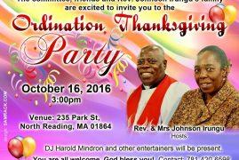 Invitation:Ordination & Thanksgiving Party Rev. Johnson Irungu's Family Oct.16 2016 @3Pm