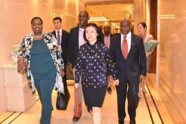 C.S Monica Juma arrives in Beijing Capital International Airport, China