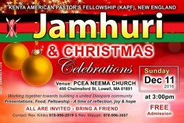 Jamhuri & Christmas Celebrations,Kenya American Pastor's Fellowship (KAPF) New England @PCEA NEEMA Dec 11 2016 @3PM