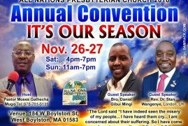 "All Nations Presbyterian Church 2016: Annual Convention ""It's our season""NOV.26-27 2016 Sat & Sunday"