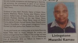 Updated info:Memorial Service Planned for the late Livingston Mwaniki Kamau on Sunday, 12/18/16 at St Michael's Catholic Church, 543 Bridge Street, Lowell MA from 3-5pm.