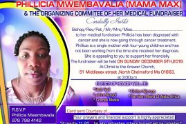 Invitation to a Medical Fundraiser:Philicia Mwembavalia (Mama Max) Sunday December 9th 2018 @ 3Pm CITAC 51 Middlesex St,North Chelmsford,MA