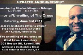 Memorial/Unveiling of the cross:Remembering Charles Mbuguiro Ndungu June 3rd 2017