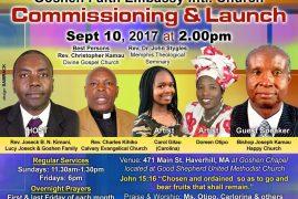 Goshen Faith Embassy Intl Church Commissioning & Launch Sept 10 2017 @2Pm