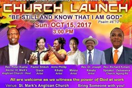 "St Marks Anglican Community Church ""Church Launch"" Sun.Oct 15th 2017 @3Pm"