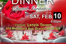 RED & BLACK :Special Valentines Dinner  Sat,Feb 10 2018 @6PM Venue: Lenzis Tavern Dracut,Massachusetts