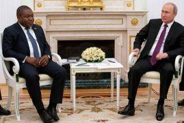 Mozambique's President Filipe Nyusi signs energy and security agreements with Russia's Vladimir Putin