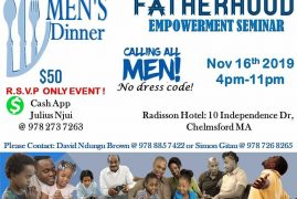 Men's Dinner Fatherhood Empowerment Seminar November 16th 2019 4Pm @ Radisson Hotel Chelmsford,Massachusetts