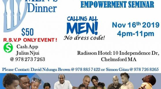 Men's Dinner Fatherhood Empowerment Seminar November 16th 2019 4Pm @ Radisson Hotel Chelmsford,Massachusetts