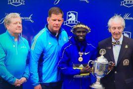 Lawrence Cherono of Kenya beat Lelisa Desisa of Ethiopia by one second to become the 2019 Boston Marathon champion