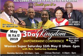 JCC Lowell-House of Prayer for all Nations 3 Day Kingdom Empowerment Conference May 11th & 12 2019 with Dr Wilfred Lai