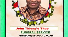 Funeral Service,Wake, Obituary for John Thiongo Thuo Friday 9th August 2019 Time 9Am @ CCF Lowell,MA
