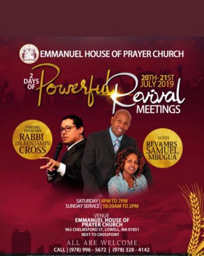Emmanuel House of Prayer July 20th-21 2019 with Rabii Dr Benjamin Cross