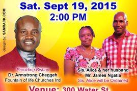 Kenyan Gospel artist in Boston  set to be ordained Saturday 19th Sept. 2015 at 300 Water Street, Leominster Massachusetts