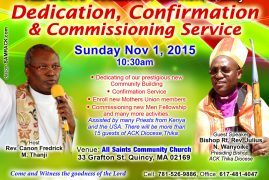 All Saints Dedication, Confirmation & Commissioning Service November 1st 2015