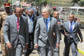President Uhuru Kenyatta meets former British Prime Minister Tony Blair who paid him a courtesy call at Harambee House.
