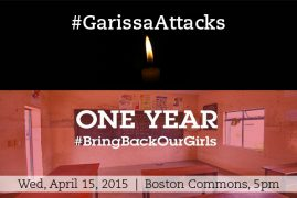 2nd Vigil for Garissa University & Kidnapped Nigerian School Girls planned in Boston, Wed April 15