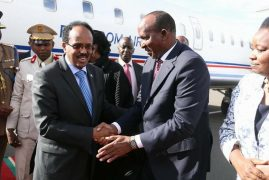 Duale recieves Abdullahi Mohamed Farmajo, President of Federal Republic of Somalia at JKIA.