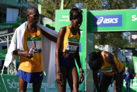 Kenyan power couple Lonyangata and wife rule Paris marathon