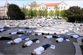 147 Croatian students lie on the ground for 147 seconds to pay tribute to Garissa victims