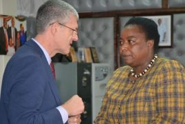 PS Amb. Monica Juma today received $10,000 ICT equipment from for Diaspora Division from IOM's Mr. Michael Pillinger