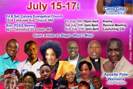 Carol Gitau CD launch July 17th 2016 @NEEMA CHURCH LOWELL,MA