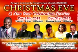 Invitation:New Year Celebrations Dec 31st,2015 Kenyan Community Presbyterian Church  (Ushindi)