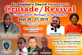 Crusade, Revival & Couples Seminar at St. Stephen's Lowell, Sept 26-27