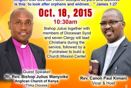Invitation:  St. James Dedication Service & Fundraiser for building mission Center Oct.18th,2015 @10:30Am