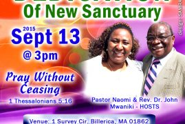 Ezra Prayer Ministries Dedication, New Sanctuary September 13th 2015 at 3PM