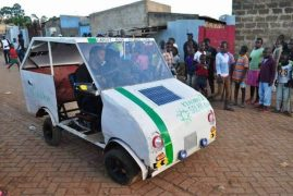 Samuel Karumbo from Kitale polytechnic Kenya has developed small solar-powered car