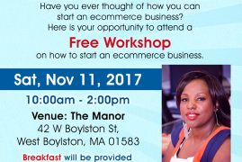 Free Workshop Sat,Nov 11 2017@10AM:Exploring Opportunity to Start a Successful Commerce Business