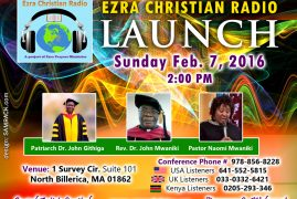 Invitation:Ezra Christian Radio Launch; Sunday Feb.7th 2016 @2:00Pm  1 Survey Circle.North Billerica,MA