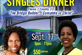 (F.O.C.A.S) Invites you to a SINGLES DINNER Sept 17 2016 5Pm to 11Pm