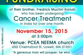 Community Appeal: Fredrick Muchiri Cancer Medical Fundraiser Nov 15 2015 @ PCEA NEEMA Church,Lowell MA